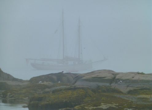 Boat in Fog at Stonington Harbor